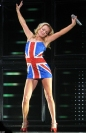 Spice Girl Geri Halliwell, in her most famous Union Jack outfit