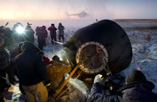 Getting out the Soyuz capsule