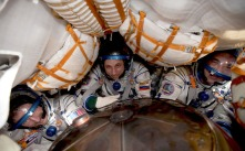 Inside the Soyuz capsule