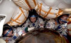 Inside the Soyuz capsule