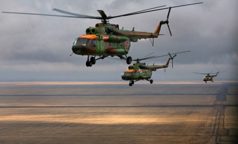 Russian rescue service choppers