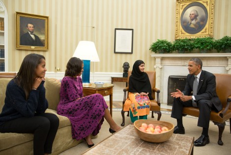 Nobel Prize Winner Malala Yousafzai, meeting her friend Barack Obama.